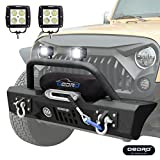 #4: oEdRo Stubby JK Front Bumper + 2x Square LED Lights Combo, Compatible for 07-18 Jeep Wrangler STAR GUARDIAN Design, Upgraded Textured Black Rock Crawler Off Road w/Fog Lights Hole & Winch Plate