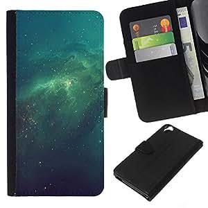KLONGSHOP // Tirón de la caja Cartera de cuero con ranuras para tarjetas - Galaxy verde psicodélico - HTC Desire 820 //