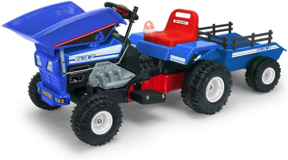 INJUSA Color Azul Tractor Dump Track de 12V con Volquete y Remolque Recomendado para Niños de +3 Años, única (637)
