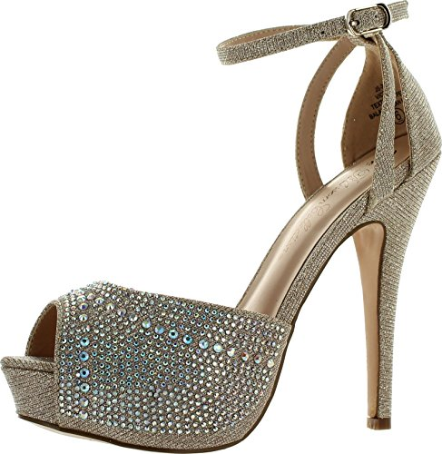 Blossom Womens Vice-126 Bridal Formal Evening Party Ankle Strap High Heel Peep Toe Glitter Sandal,Nude,6