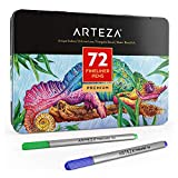 ARTEZA Fineliners Fine Point Pens, Set of 72 Fine Tip Markers with 0.4mm Tips & Sure Grip Ergonomic Barrels, Brilliant Assorted Colors for Coloring, Drawing & Detailing + Sturdy Metal Storage Case