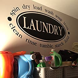 Laundry spin dry load wash soap iron clean rinse tumble starch fold Vinyl Wall Decal by Wild Eyes Signs. Laundry room decor decal lettering sign decoration quote wall sticker art HH2141
