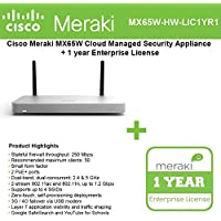 Cisco Meraki MX65W Small Branch Wireless Appliance, 250Mbps FW, 12xGbE Ports - Includes 1 Year Enterprise License