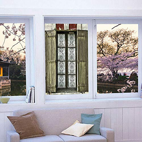 TecBillion Privacy Window Film Decorative,Shutters Decor,for Glass Non-Adhesive,European French Window with Antique Open Shutters ()