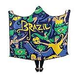 Artsadd Custom Hooded Blanket Brazil Flag Soccer Dancing Design Wearable Blanket 60x50 Inch Comfotable Hooded Throw Wrap