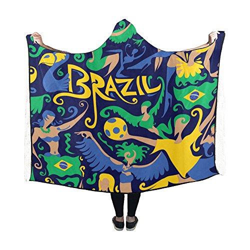 Artsadd Custom Hooded Blanket Brazil Flag Soccer Dancing Design Wearable Blanket 60x50 Inch Comfotable Hooded Throw Wrap by Artsadd
