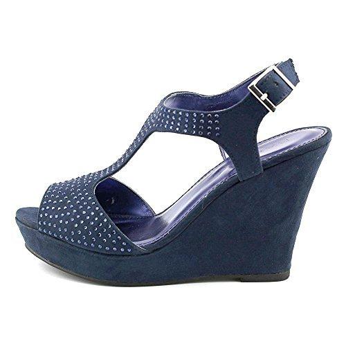 Rampage Women's Cami T-Strap Platform Wedge Sandal, Blue, Size 9.0 - Rampage T-strap Sandals