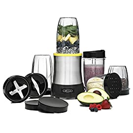 BELLA (13984) 15 Piece Rocket Extract PRO Power Blender Set, Stainless Steel 4 <p>Rocket Extract Pro Emulsifies Better Than the Leading Brand* comes with two high-performance stainless steel blades. The emulsifying blade liquefies all fruits, vegetables, and leaves--including seeds--in seconds. You can create nutritious, delectable smoothies and shakes that are truly smooth, even when you add leafy greens or herbs. The grinding blade chops and grinds seeds, nuts, and spices. Use it to grind coffee beans to the desired texture, and you can store grounds in the tumbler with a solid lid. The grinding blade can also prepare salsas and chutneys. * Based on results of Emulsification Comparison Test by Intertek Testing Services, Cortland, NY. July 2013. HANDHELD BLENDING POWER: This 15-piece blending set has a 700 watt power base with a stainless steel blending blade that can emulsify & liquify whole fruits & even leafy greens, plus a grinding blade that allows you to pulverize dry foods and spices. SIMPLE & VERSATILE: The Rocket Extract PRO comes with 5 blending tumblers that attach directly to the blades so you can enjoy a smoothie right from the cup you use to prepare it with minimal cleanup. Or you can use it to grind nuts, spices or coffee beans BLENDERS FOR EVERY PURPOSE: Fancy a smoothie? Or how about guacamole? Simplify kitchen prep and make healthy, delicious food & drinks with our full line of durable & versatile blenders, from the personal size Rocket Blender to the Hand Immersion Blender You need quick & convenient kitchen solutions to simplify your hectic life. We provide you with the right small kitchen appliance & also equip you with essential tools like recipes, tips & product videos. The kitchen should be fun. With Bella it can be. COMPARE THE QUALITY: Compare our wide selection of small kitchen appliances to similar products from Cuisinart, Hamilton Beach, Breville, Oster, Waring, Krups, Black & Decker, Presto, KitchenAid, Braun, All Clad or Westinghouse.</p>