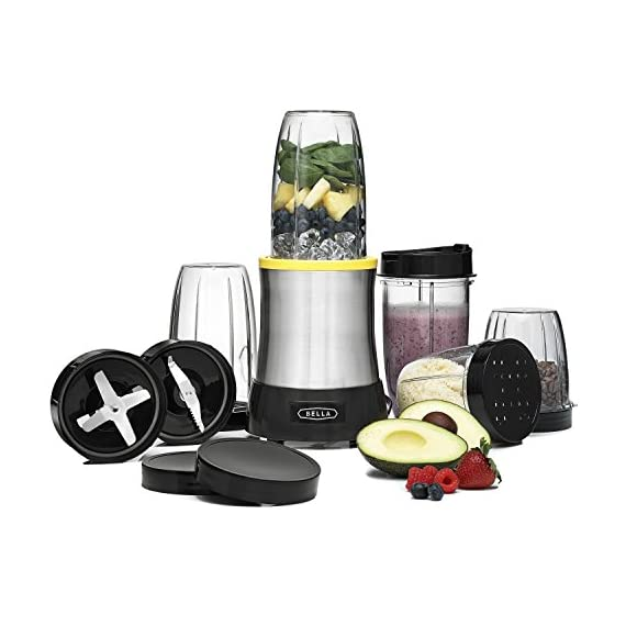 BELLA (13984) 15 Piece Rocket Extract PRO Power Blender Set, Stainless Steel 1 <p>Rocket Extract Pro Emulsifies Better Than the Leading Brand* comes with two high-performance stainless steel blades. The emulsifying blade liquefies all fruits, vegetables, and leaves--including seeds--in seconds. You can create nutritious, delectable smoothies and shakes that are truly smooth, even when you add leafy greens or herbs. The grinding blade chops and grinds seeds, nuts, and spices. Use it to grind coffee beans to the desired texture, and you can store grounds in the tumbler with a solid lid. The grinding blade can also prepare salsas and chutneys. * Based on results of Emulsification Comparison Test by Intertek Testing Services, Cortland, NY. July 2013. HANDHELD BLENDING POWER: This 15-piece blending set has a 700 watt power base with a stainless steel blending blade that can emulsify & liquify whole fruits & even leafy greens, plus a grinding blade that allows you to pulverize dry foods and spices. SIMPLE & VERSATILE: The Rocket Extract PRO comes with 5 blending tumblers that attach directly to the blades so you can enjoy a smoothie right from the cup you use to prepare it with minimal cleanup. Or you can use it to grind nuts, spices or coffee beans BLENDERS FOR EVERY PURPOSE: Fancy a smoothie? Or how about guacamole? Simplify kitchen prep and make healthy, delicious food & drinks with our full line of durable & versatile blenders, from the personal size Rocket Blender to the Hand Immersion Blender You need quick & convenient kitchen solutions to simplify your hectic life. We provide you with the right small kitchen appliance & also equip you with essential tools like recipes, tips & product videos. The kitchen should be fun. With Bella it can be. COMPARE THE QUALITY: Compare our wide selection of small kitchen appliances to similar products from Cuisinart, Hamilton Beach, Breville, Oster, Waring, Krups, Black & Decker, Presto, KitchenAid, Braun, All Clad or Westinghouse.