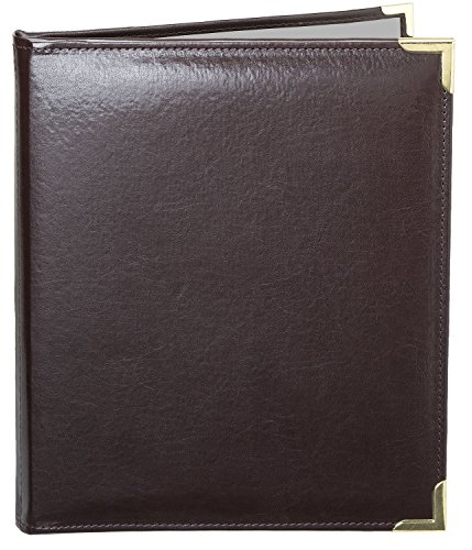 MenuCoverMan • Case of 5 Menu Covers • Allante #7002 BROWN DOUBLE PANEL - 2-VIEW - 8.5'' W x 11'' H - STITCHED-Elegant Gold metal corners. See all covers: type MenuCoverMan in Amazon search. by MenuCoverMan