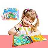 Magic Water Drawing Book Reusable Coloring Activity Board KENROLL Unisex Kids Doodle Painting Pictures Book with Refillable Water Pen for Toddlers (Dinosaur-World (Vertical Style)