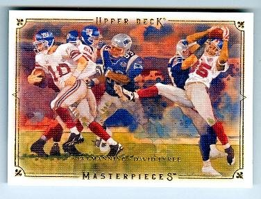 David Tyree Eli Manning Football Card (New York Giants Super Bowl Champion XLII) 2008 Upper Deck Milestones #3 The Catch