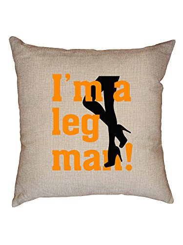 Hollywood Thread I'm A Leg Man! Sexy Women's Legs with Heals Decorative Linen Throw Cushion Pillow Case with Insert by Hollywood Thread