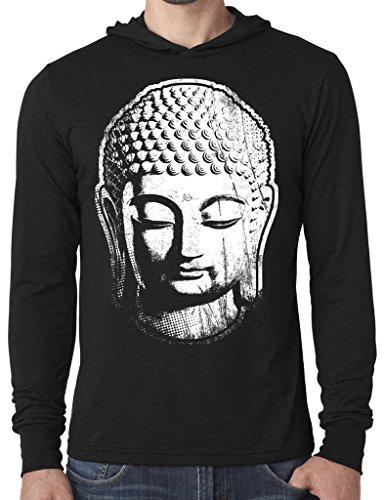 Cheap Mens Big Buddha Head Hoodie Tee Shirt, 2XL Black