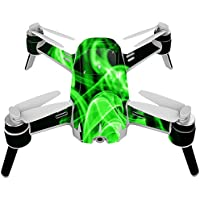 Skin For Yuneec Breeze 4K Drone – Green Flames | MightySkins Protective, Durable, and Unique Vinyl Decal wrap cover | Easy To Apply, Remove, and Change Styles | Made in the USA