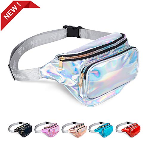 swelldom Fanny Pack Belt Bag, Holographic Fanny Packs Women Men Kids, Fashion Waterproof Waist Pack 3 Pouches Adjustable Strap, Shiny Causal Bags Cute Bum Bag Hip Sacks for Travel Festival Hiking Rave