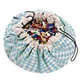 "Play Mat and Toy Storage Bag - Durable Floor Activity Organizer Mat - Large Drawstring Portable Container for Kids Toys, LEGO, Books - 55"", Diamond Blue"