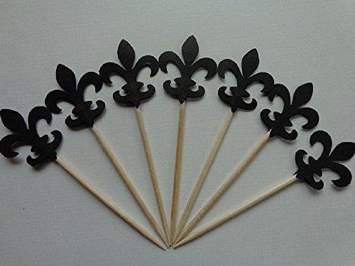 (Black Fleur De Lis Cupcake Toppers - Party Picks - Food Picks (Set of 24) )