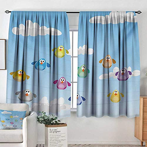 Nursery Thermal Insulating Blackout Curtain Flock of Colorful Birds Sitting on Wires Fluffy Clouds Blue Sky Urban Cartoon Patterned Drape for Glass Door 55