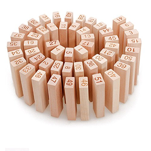木製キューブ積み木 ドミノ倒し 知育玩具 無着色天然木材使用 51個セット 子供のおもちゃ 誕生日プレゼント 入園のお祝い Broadroot