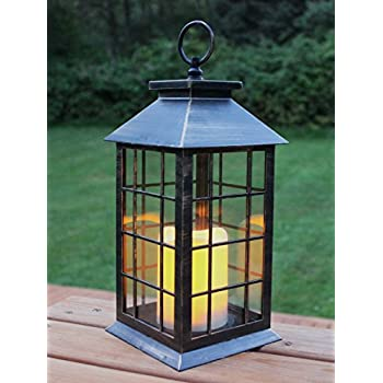 "13"" Country Style Rustic Lantern with Flickering Flameless LED Candle"