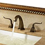 Durable European style Faucet Wholesale Antique Copper Basin Three-piece Faucet Three-hole Split Faucet Hot And Cold Water Mixer practical