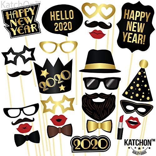 New Year Photo Booth Props 2020 - Pack of 26 | New Years Eve Party Supplies 2020 | New Year Party Decorations 2020 | New Years Eve Props | Hollywood Oscar NYE Decorations 2020