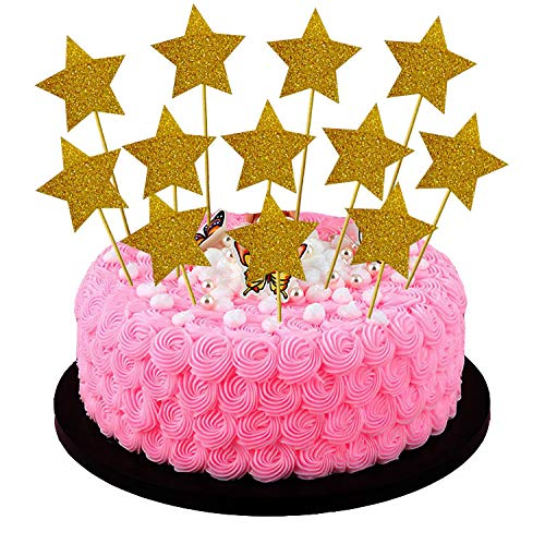 Perfec SYNCHKG107800 Twinkle Twinkle Little Star Birthday Cupcake Toppers Baby Shower Cupcake Toppers Gold Star Toppers Set of 24 ()