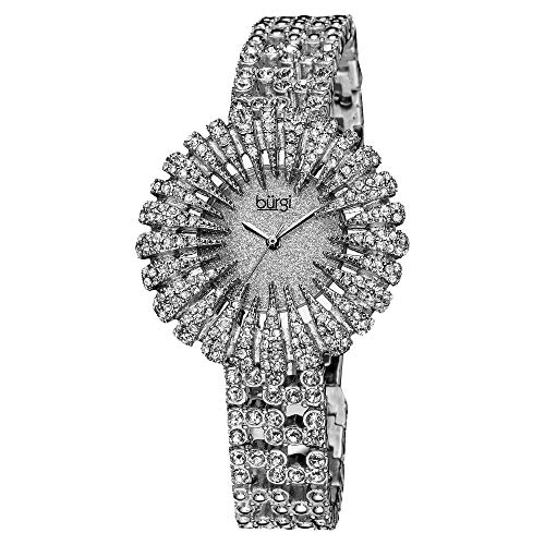 (Burgi Crystal Accented Sparkling Dial Women's Watch - Crystal Filled Bezel On Glossy Leather Strap Watch - BUR054)