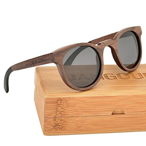 Polarized Black Walnut Wood Frame Sunglasses Classic Wooden Eyewear for Men & - Eyewear Frames Wooden