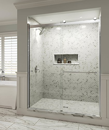 Basco Rotolo 44-48 W x 70 H inch Semi-Frameless Sliding Shower Door Clear Glass, Chrome Finish RTLA05B4870CLSV