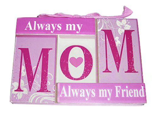 Sentimental Always My Mom - Always My Friend - Decorative Pink & White Plaque with Pink Ribbon - 7 Inch x 4 3/4 Inch