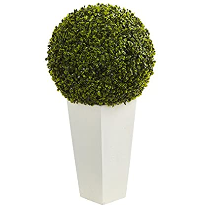 "Image of Nearly Natural Artificial Plant (Indoor/Outdoor) 28"" Boxwood Topiary Ball in White Tower Planter, Green Home and Kitchen"