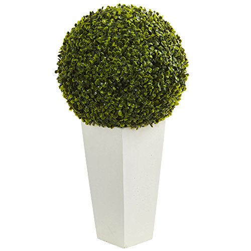 "(Nearly Natural Artificial Plant (Indoor/Outdoor) 28"" Boxwood Topiary Ball in White Tower Planter, Green)"