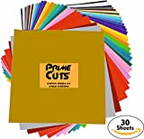"""Arts & Crafts : Permanent Adhesive Backed Vinyl 30 SHEETS - PrimeCuts USA - 30 SHEETS 12"""" x 12"""" - 30 Assorted Color Sheets for Cricut, Silhouette Cameo, and Other Craft Cutters"""