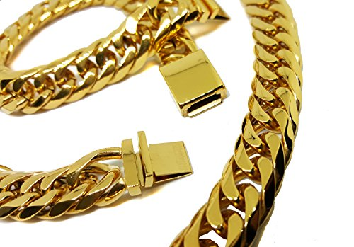 Gold Layered Over 316L Stainless Steel Thick 14mm Cuban Link Set. Chain is 30 inches and bracelet is 9 inches. (Link Layered)