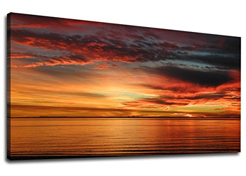 Art Painting Sunset - yearainn Canvas Wall Art Peaceful Sunset Ocean Beach Panoramic Fall Sea Scenery Painting - Long Canvas Artwork Contemporary Nature Picture for Home Office Wall Decor 20