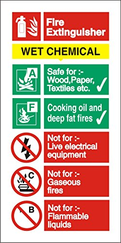 (Stewart Superior Sign Wet Chemical Extinguisher Fire Safety Self Adhesive PVC W100xH200mm Ref)