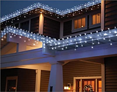Holiday Time Count LED Star Icicle Christmas Lights, Cool White 764878