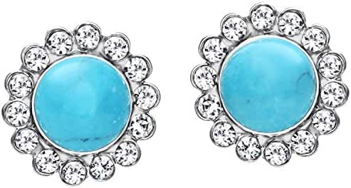 Neoglory Jewelry 14k Gold Plated Natural Blue Turquoise Flower Shaped Stud Earrings 7mm