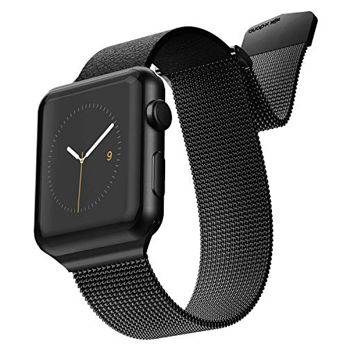 Apple Watch Replaceable Smartwatch Band for 42mm and 44mm Apple Watch - Stainless Steel Metal Mesh Loop and Leather with Magnetic Close for Apple Watch Series 1,2,3,4 - Black/Black ()