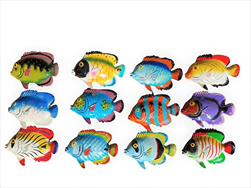Tropical Wall Decor Art - Multi-color Exotic Set of (12) Decorative Tropical Wall Decor Fish with Free Fish Net