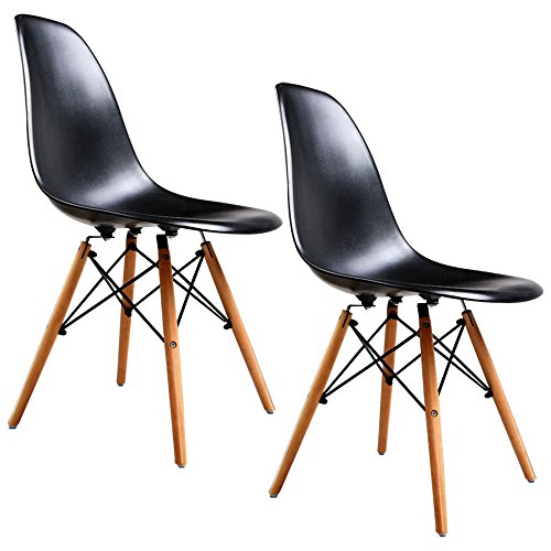 Set of 2 Mid Century Eames Style DSW Dining Side Chairs w/Wood Legs Black - Dream Quest Twin Sleeper