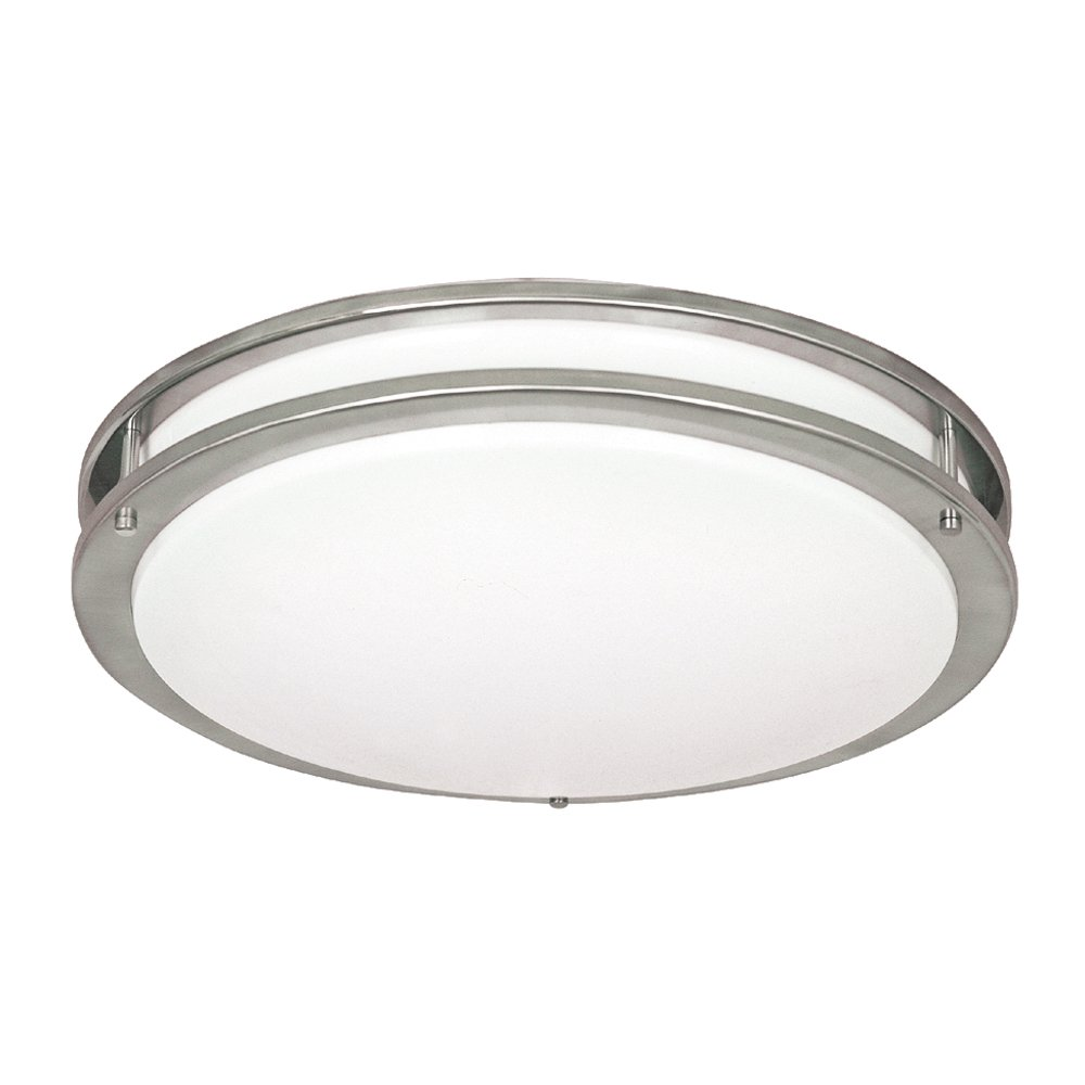 NICOR Lighting 18-Inch Cold Rolled Steel Surface Mount Ceiling Fixture with Frosted Acrylic Diffuser, Nickel Finish (30018-FL-NK)