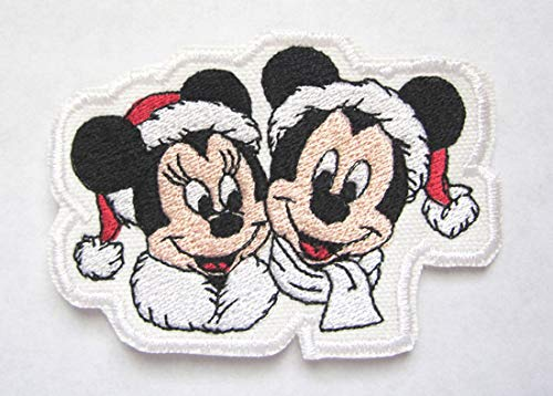 Mickey Minnie Mouse in Santa Hats Cartoon Inspired Christmas Iron on Patch