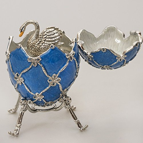 Swarovski Crystals Swan Blue Gold Plated Faberge Style Egg Musical Figurine Limited Edition Collectible Faberge -