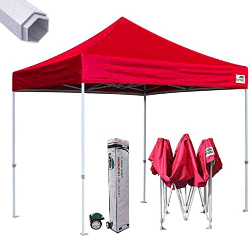 Eurmax Premium 10 x10 Ez Pop-up Canopy Tent Commercial Instant Canopies Shelter with Heavy Duty Wheeled Carry Bag Red