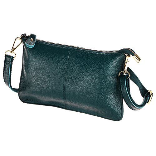 (SEALINF Women's Cowhide Leather Clutch Handbag Small Shoulder Bag Purse (dark green))