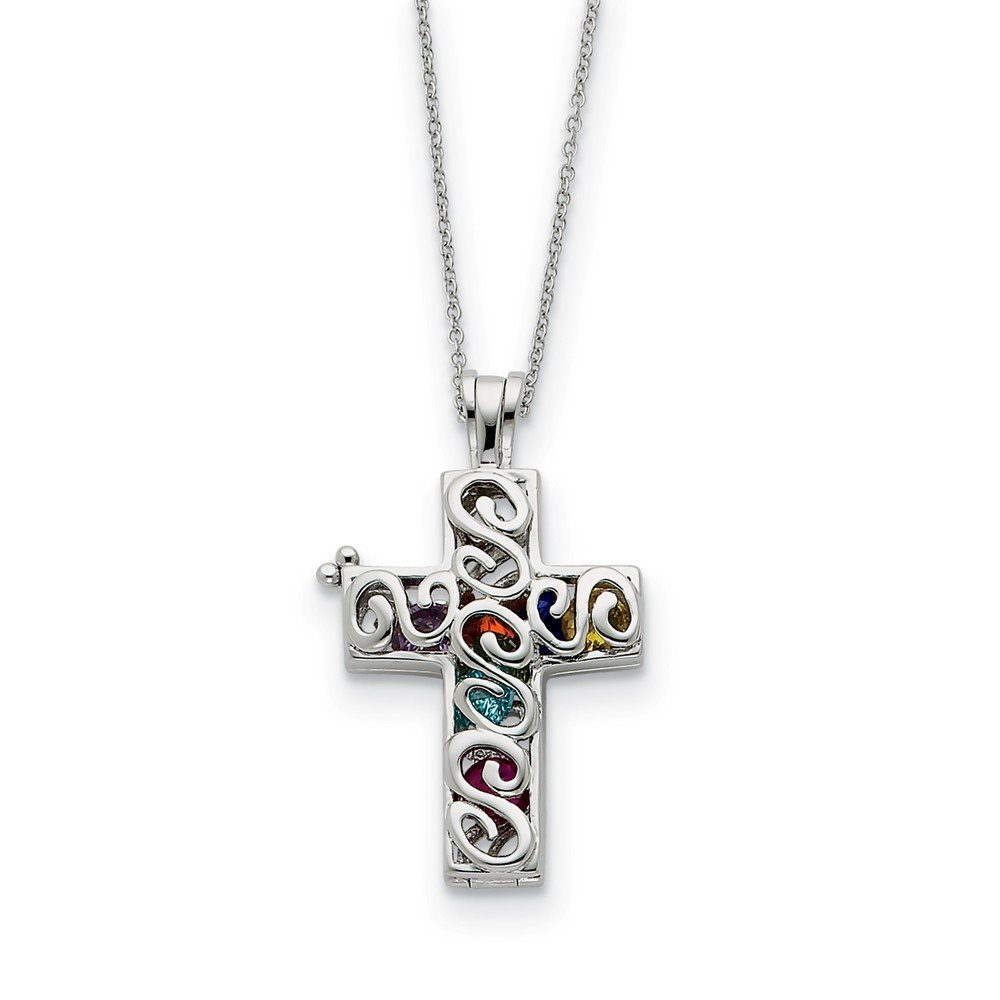 Rhodium Plated Sterling Silver /& CZ Promises of The Rainbow 18 Inch Cross Necklace
