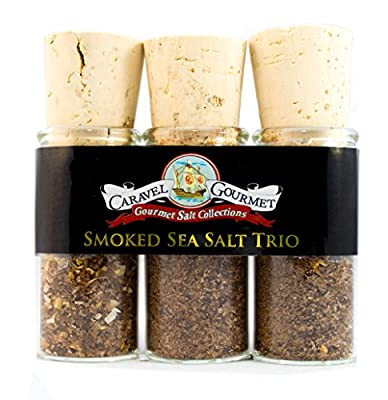 The Sea Salt Trio Mini Sampler Set - Smoked Bacon Chipotle, Smoked Peppered Bacon, Smoked Bacon & Onion - Slowly, Naturally Smoked over Wood - Gluten-Free, No MSG